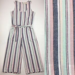 Cloth & Stone Linen Striped Cropped Jumpsuit NWT